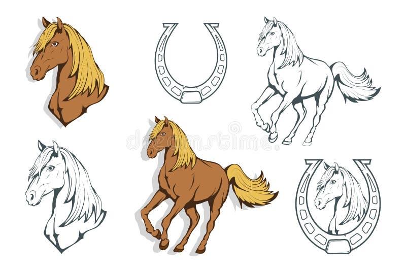 Conjunto de caballos Caballo drenado mano Bosquejo de la cabeza de caballo libre illustration
