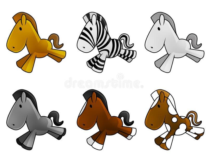 Conjunto de caballos lindos del bebé imagen de archivo