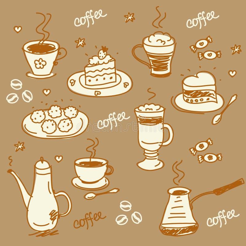 Conjunto de café ilustración del vector