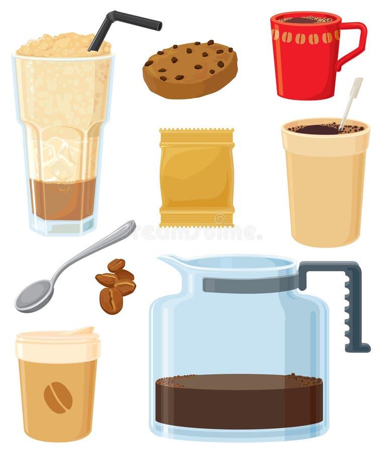 Conjunto de café americano ilustración del vector