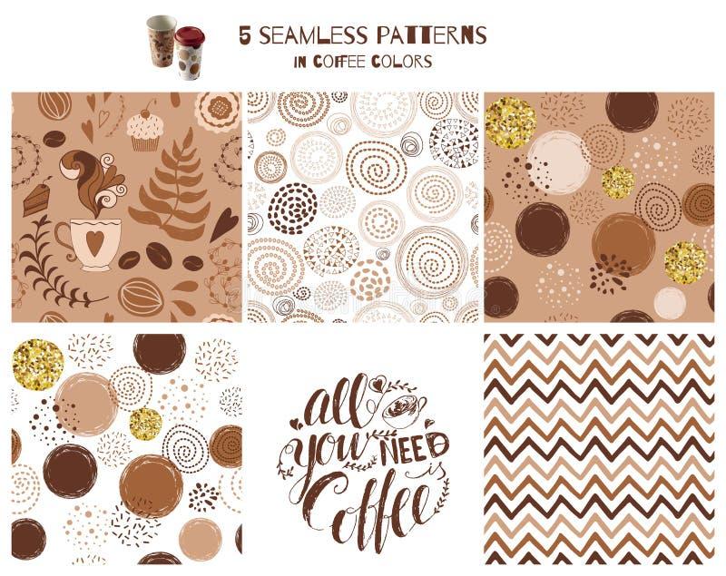 Conjunto de café sin problemas Frase Todo lo que necesita es un vector de la huella de café dibujado a mano libre illustration