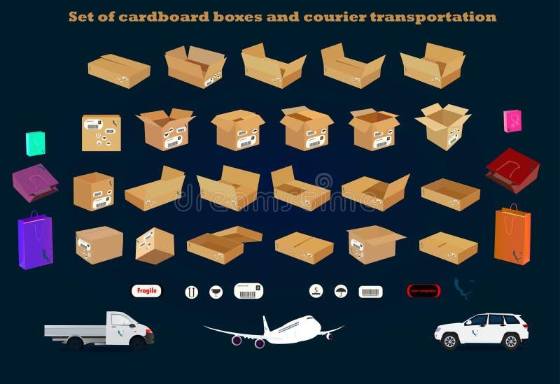 Conjunto de cajas de cartón ilustración del vector
