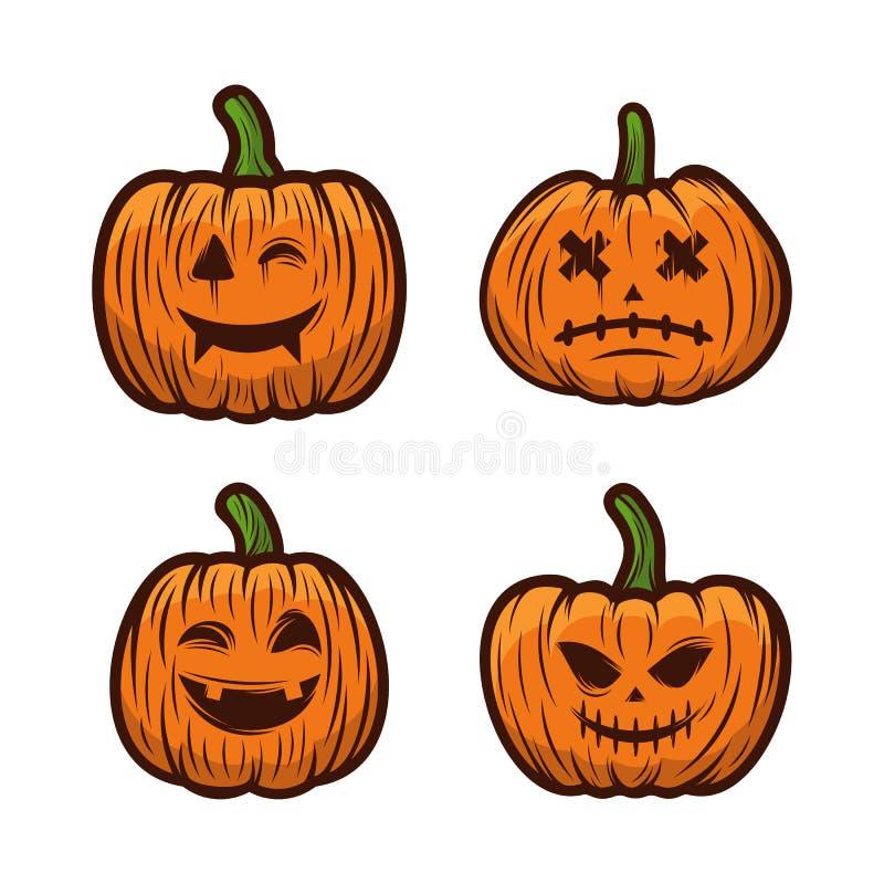 Conjunto De Calabazas Para El Vector De Diseño De Halloween Aislado Ilustración De Plantillas De Feliz Halloween Stock De Ilustración Ilustración De Horror Magia 158576239