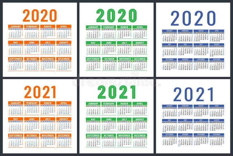 Conjunto de Calendários 2020 e 2021 Design do vetor inglês Semana começa no domingo Modelo de design de calender quadrado Laranja ilustração stock