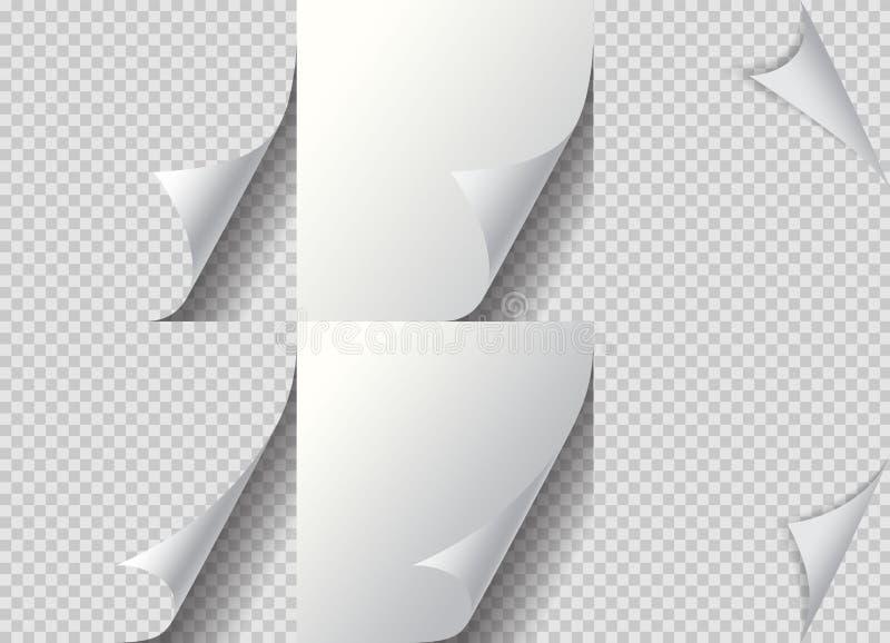 Conjunto de canto de papel de página curva Dobro de papel, curva virada para o lado e curva de papel curva Folheando página do li ilustração do vetor
