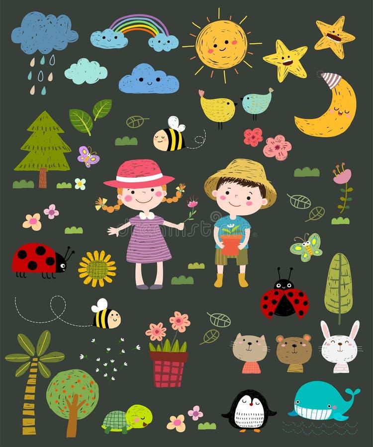 Conjunto de características do vetor desenhado à mão Crianças bonitas com ícones da natureza dispostos em ilustração desenhada à  ilustração stock
