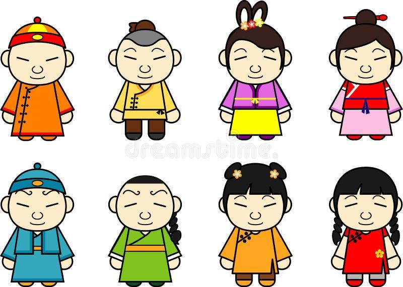 Conjunto de caracteres chino de la historieta ilustración del vector