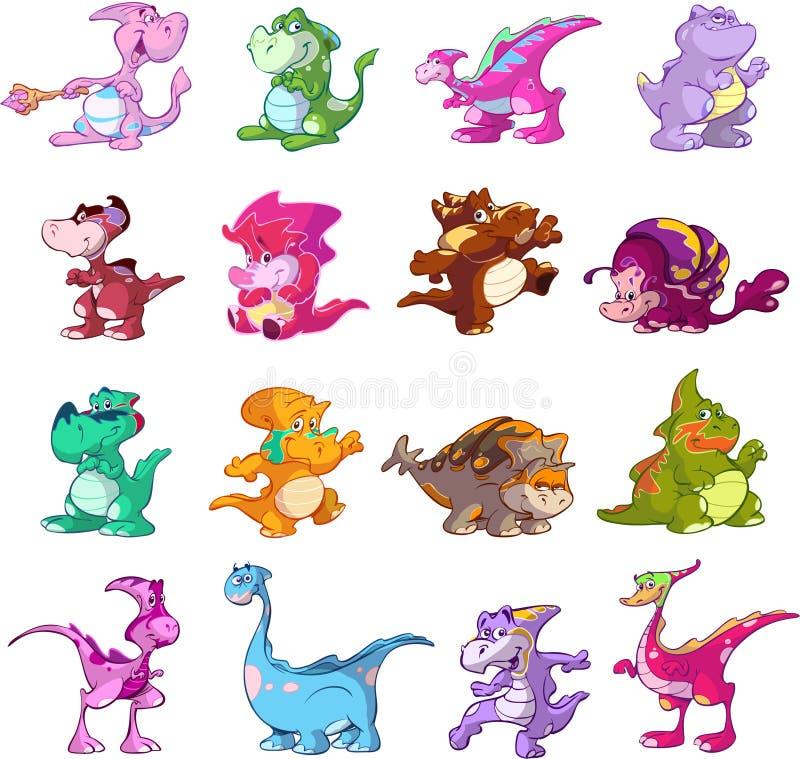 Conjunto de caracteres del dinosaurio stock de ilustración