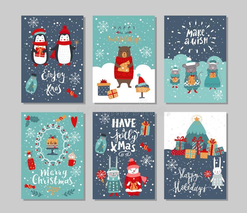 Conjunto de cartões de saudação de feriados de inverno Conjunto vetorial de Natal ilustração do vetor