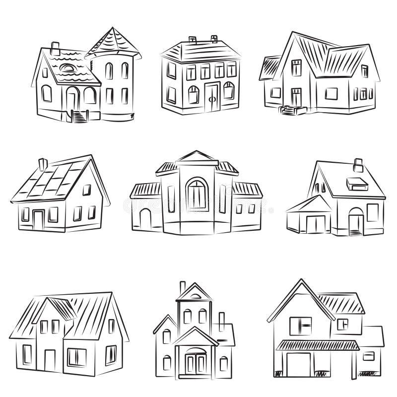 Conjunto de casas stock de ilustración