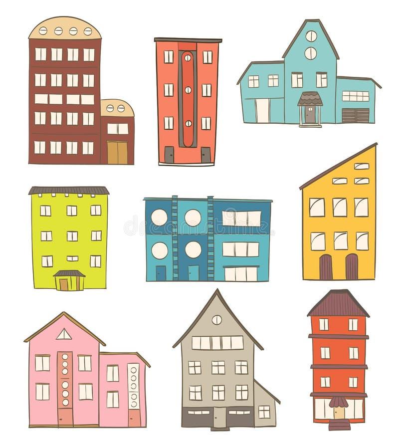 Conjunto de casas de la historieta dibujo del vector de edificios retros ilustración del vector