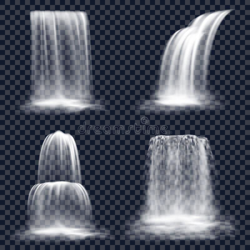 Conjunto de cascata isolada, queda do rio da montanha ilustração royalty free