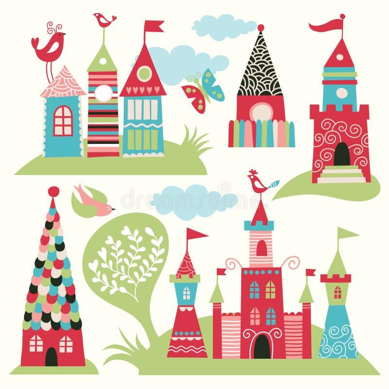 Conjunto de castillos de hadas stock de ilustración