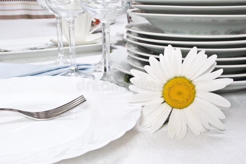 Conjunto de cena con la manzanilla imagenes de archivo