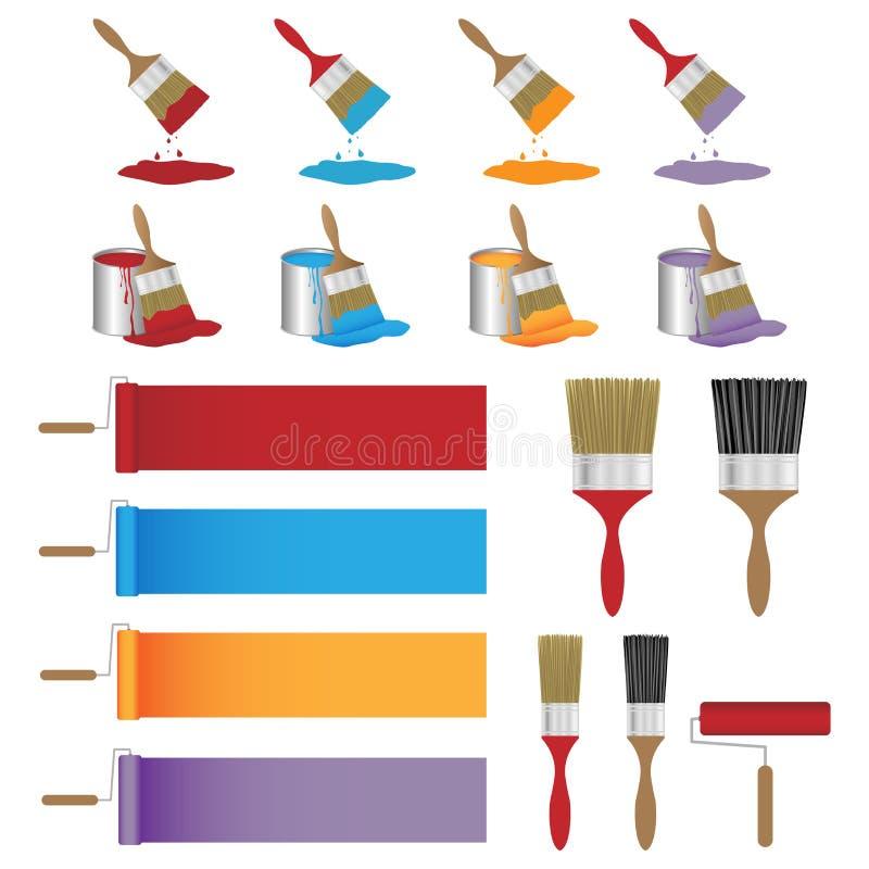 Conjunto de cepillo de pintura stock de ilustración