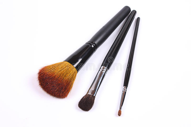 Conjunto de cepillos profesionales del maquillaje imagen de archivo