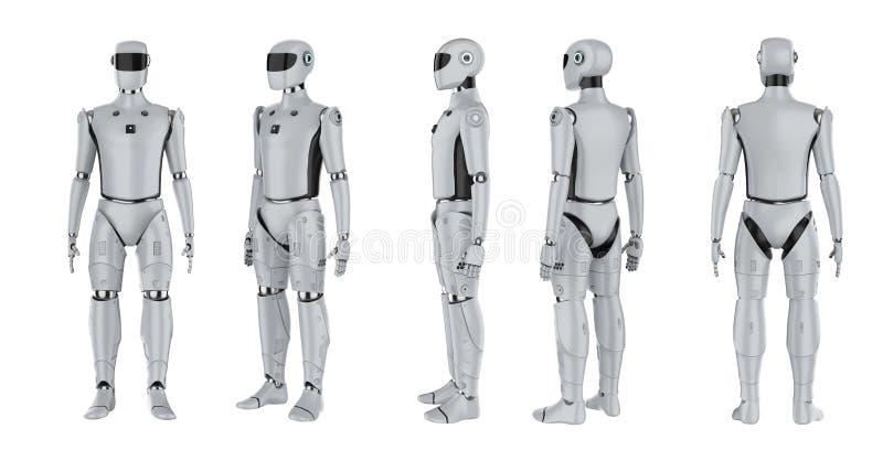 Conjunto de ciborgs o robots de inteligencia artificial libre illustration