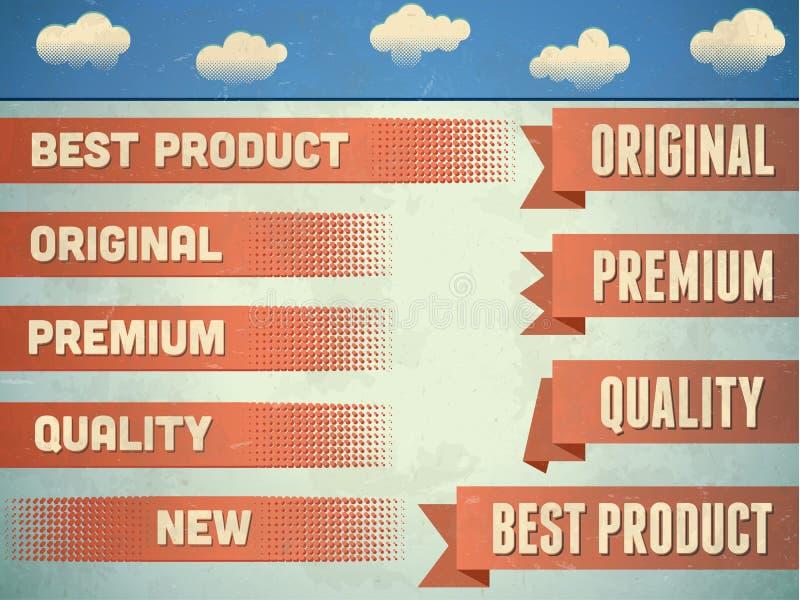 Conjunto de cintas superiores de la calidad de la vendimia ilustración del vector