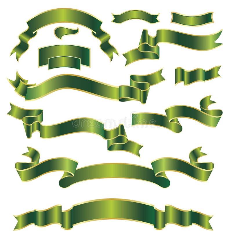Conjunto de cintas verdes stock de ilustración