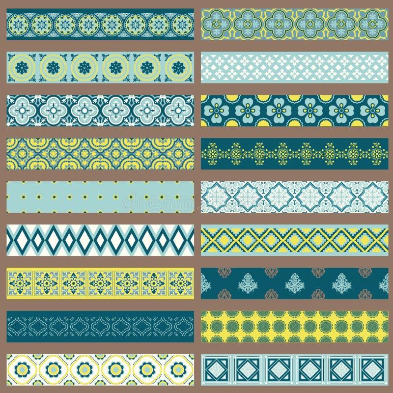 Conjunto de cintas y de fronteras stock de ilustración