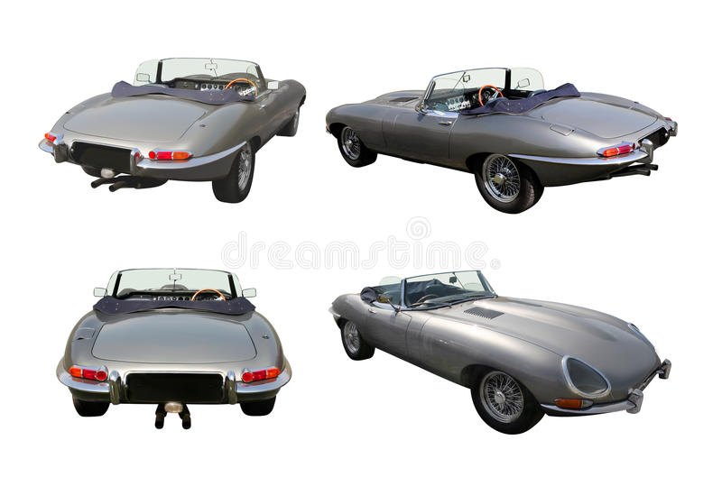 Conjunto de coches de deportes convertibles - E-Tipo del jaguar foto de archivo libre de regalías