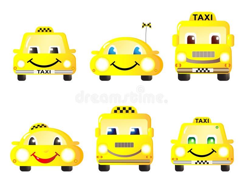 Conjunto de coches lindos del taxi ilustración del vector