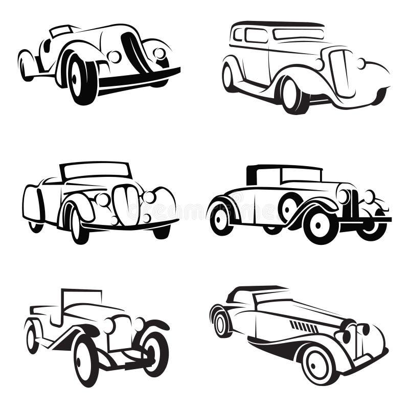 Conjunto de coches retros stock de ilustración