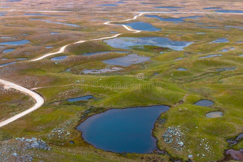 Conjunto de colchões de lagoa no 'alto Peru' em Cajamarca Peru imagens de stock