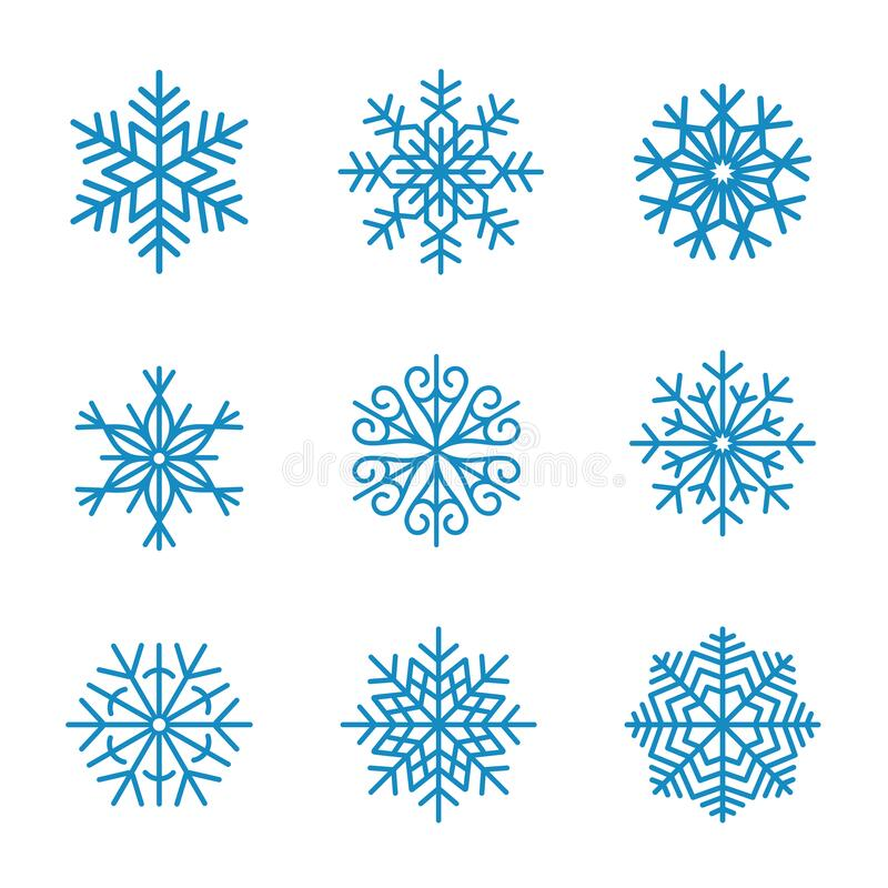 Conjunto de colección vectorial Snowflakes stock de ilustración