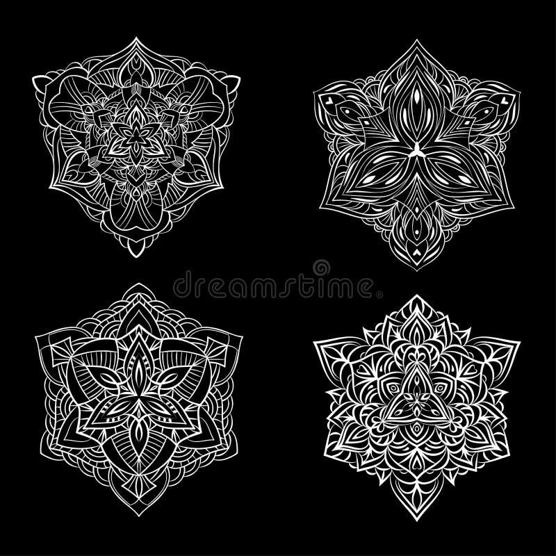 Conjunto de colecciones Snowflakes Iconos de nieve de línea plana, silueta de copos de nieve Ornamento de Año Nuevo ilustración del vector
