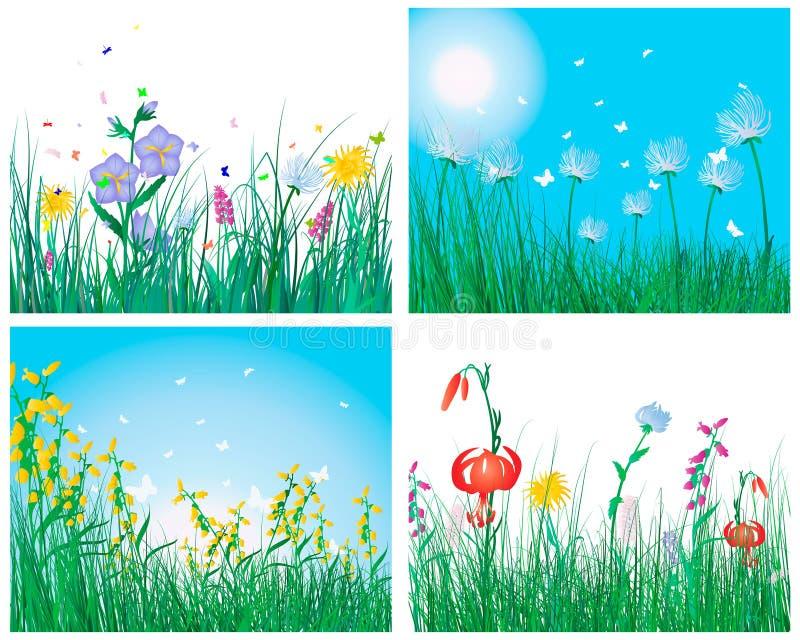 Conjunto de color de fondos de la hierba stock de ilustración
