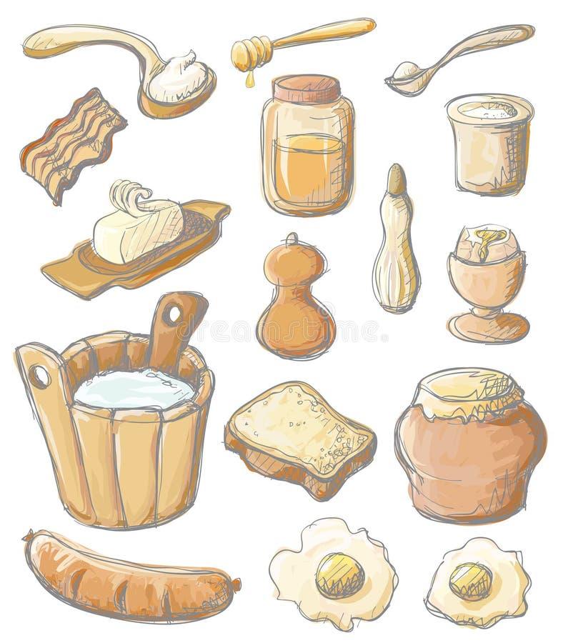 Conjunto de color del desayuno ilustración del vector
