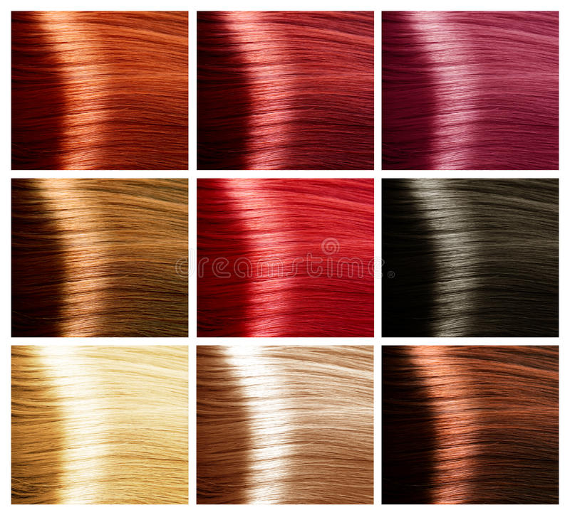 Conjunto de colores del pelo. Tintes imagen de archivo