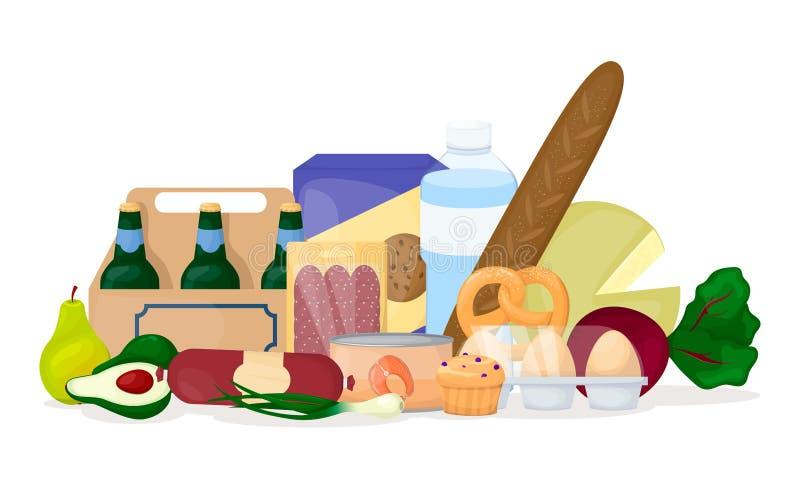 Conjunto de comida Diversa pila del producto grocery Cerveza, huevo, verduras, agua, queso Vector de la historieta libre illustration