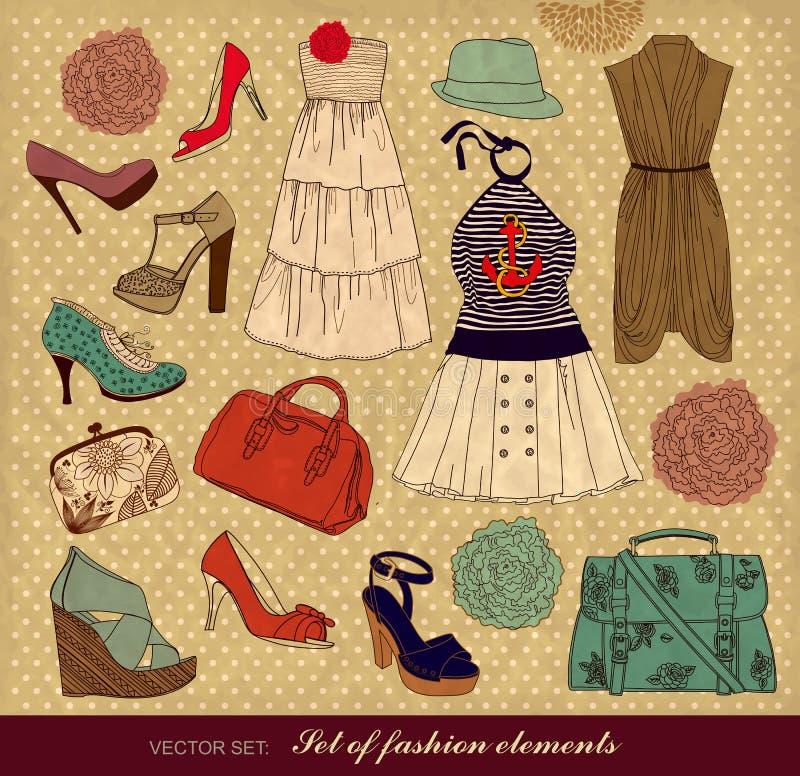 Conjunto de complementos femeninos stock de ilustración