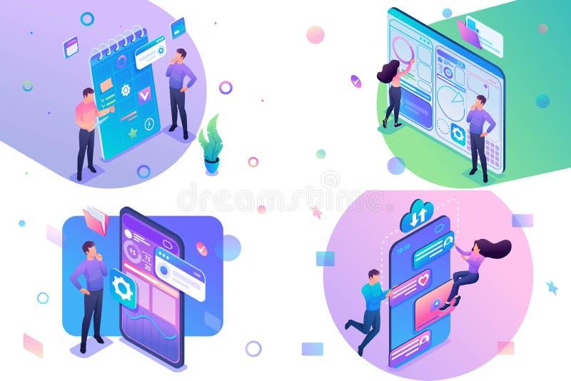 Conjunto de conceptos isométricos: planificación empresarial, creación de tablero, aplicación móvil, red social. Para Concept stock de ilustración