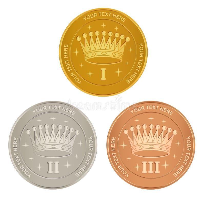 Conjunto de concesiones del oro, de la plata y del bronce libre illustration