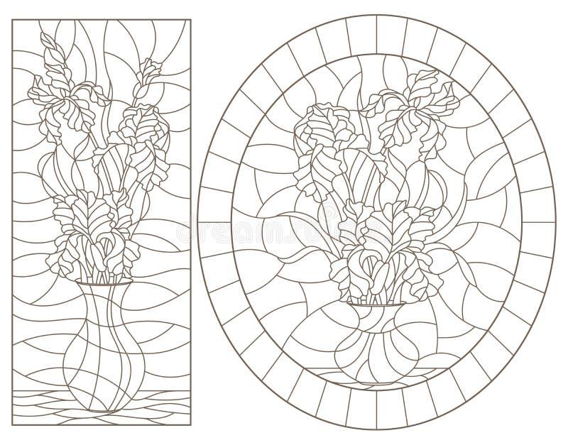 Conjunto de contornos con ilustraciones de vidrios manchados Ventanas con vida fija, jarrones con flores de iris, contornos oscur stock de ilustración