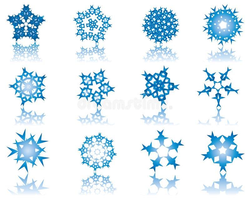 Conjunto de copos de nieve ilustración del vector