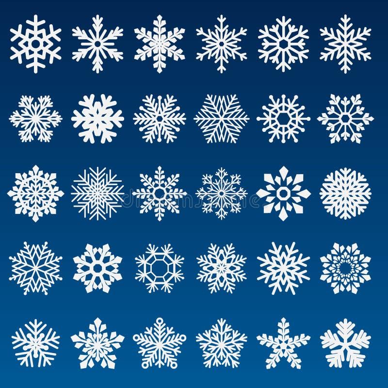 Conjunto de copos de nieve del vector fotografía de archivo