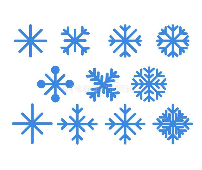 Conjunto de copos de nieve azules Iconos del vector del diseño de la Navidad aislados en el fondo blanco Siluetas del copo de nie ilustración del vector