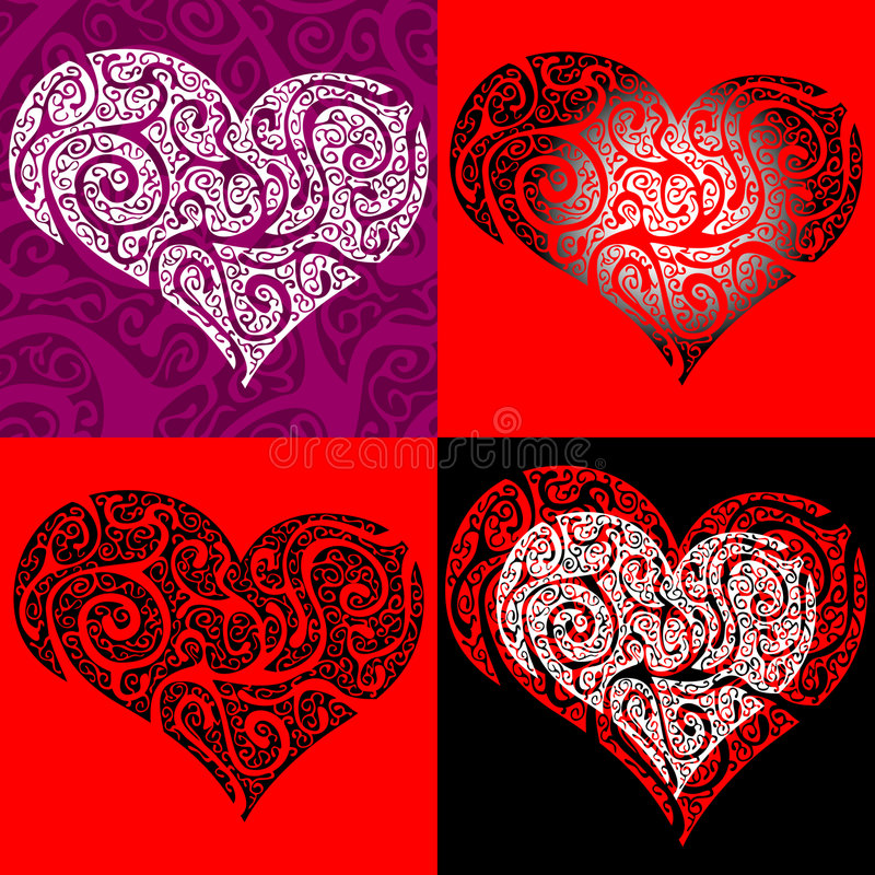 Conjunto de corazones stock de ilustración