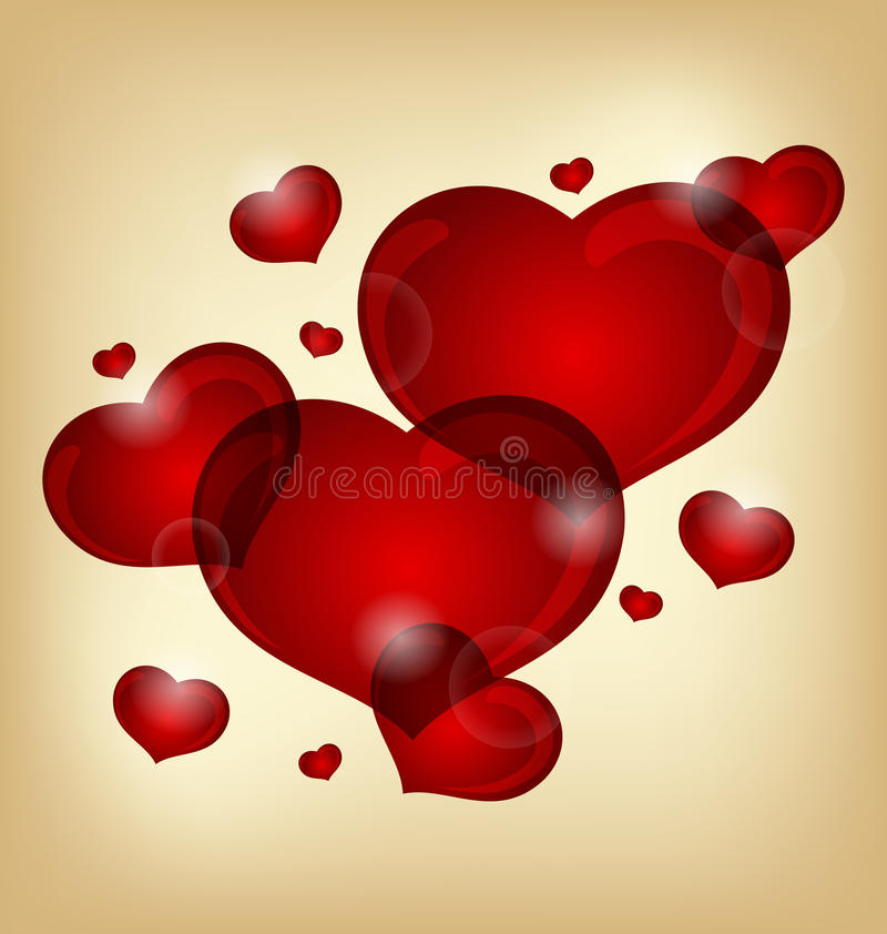Conjunto de corazones de la tarjeta del día de San Valentín ilustración del vector