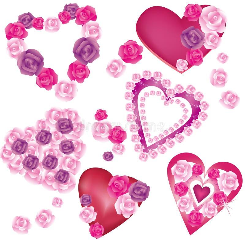 Conjunto de corazones decorativos ilustraci n del vector for Conjunto de espejos decorativos
