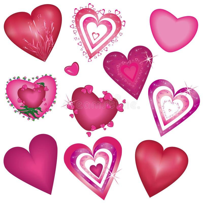 Conjunto de corazones decorativos hermosos stock de ilustración