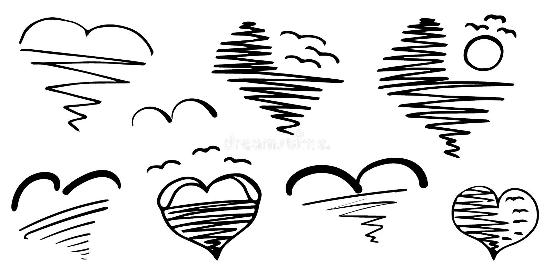 Conjunto de corazones Puestas del sol y salidas del sol en el mar con los pájaros que vuelan sobre el agua Hermoso y romántico ilustración del vector