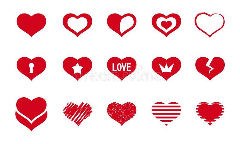 Conjunto de corazones rojos stock de ilustración