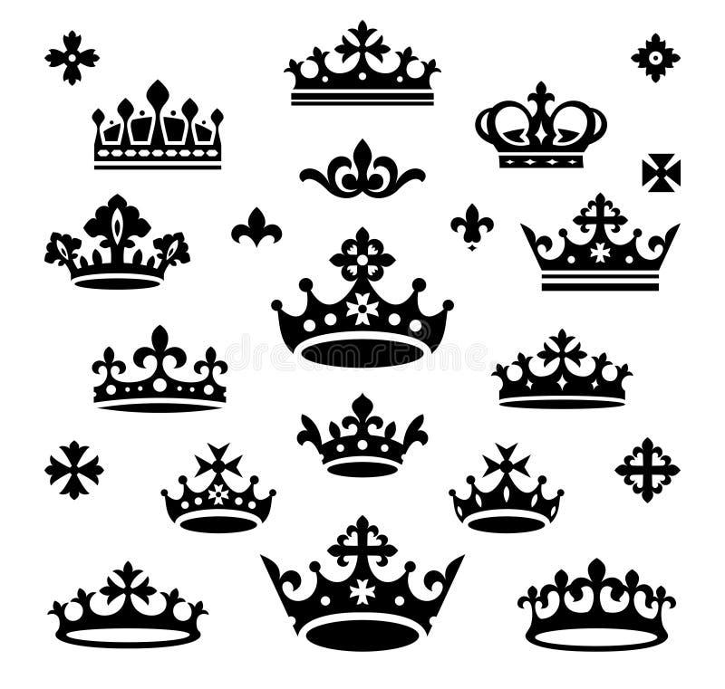 Conjunto de coronas stock de ilustración
