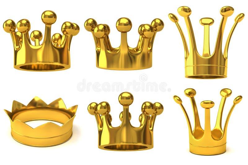 Conjunto de coronas de oro libre illustration