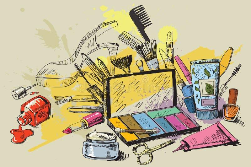 Conjunto de cosméticos ilustración del vector